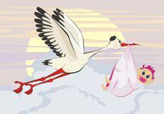 Stork delivering a newborn baby. A cartoon illustration of a stork delivering a newborn baby girl Royalty Free Stock Photo