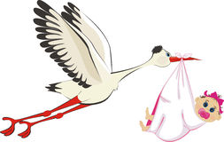 Stork delivering a newborn baby girl. A cartoon illustration of a stork delivering a newborn baby girl Stock Photography