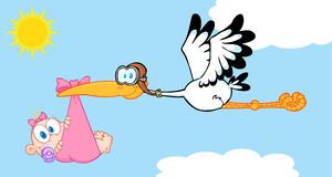 Stork Delivering A Newborn Baby Girl. Flying In The Sky Stock Images