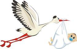 Stork delivering a newborn boy. A cartoon illustration of a stork delivering a newborn baby boy Royalty Free Stock Photos