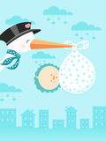 Stork delivering newborn girl Stock Photo