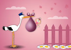 A stork delivering newborn girl at home. Illustration of a stork delivering the baby girl at home Royalty Free Stock Photo