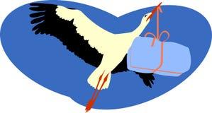 Stork Delivering a Package Stock Image