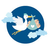 Stork delivering twin baby boy. Vector illustration of stork delivering twin baby boy Stock Illustration