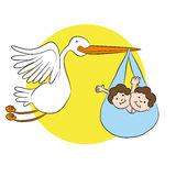 Stork Delivers Twin Babies Stock Photography