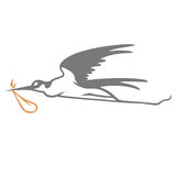 Stork Elegant Simple Vector. Stork Carrying Bundle Cartoon Logo Vector Royalty Free Stock Photos