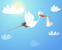 Stork flying with baby. Birthday Royalty Free Stock Images
