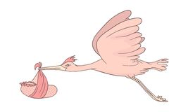 Stork flying with baby Stock Photo