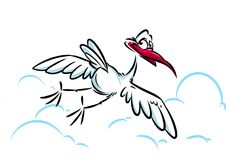 Stork flying in the clouds Royalty Free Stock Photos