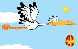 Stork flying an easter egg Royalty Free Stock Image
