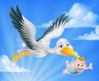 Stork flying holding baby Stock Images
