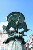 Stork Fountain in the Old Town of Copenhagen, Denmark Royalty Free Stock Image