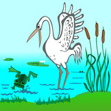 Stork and Frog Royalty Free Stock Photo