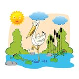 Stork with frogs Royalty Free Stock Image