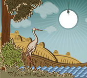 Stork in front of countryside. Illustration to fairy tale Ugly Duckling (Hans Christian Andersen Stock Images