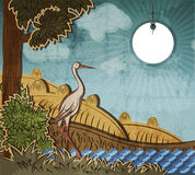 Stork in front of countryside. Illustration to fairy tale Ugly Duckling (Hans Christian Andersen Royalty Free Stock Image