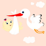 Stork and girl Royalty Free Stock Image