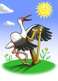 Stork with a harp. Stork with harp under the sun, illustration Stock Images