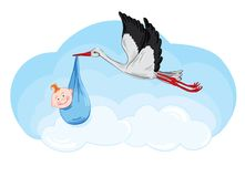 Stork has a baby. Greeting illustration - the birth of a boy royalty free illustration