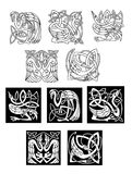 Stork and heron birds in celtic patterns Stock Photography