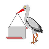 A stork holding a big blank paper in his beak. Vector-art illustration Stock Image