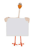 Stork holding blank frame Stock Photo