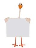 Stork holding blank frame Stock Photo