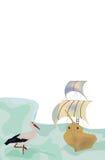 Stork. Illustration of alone stork waiting ship stock illustration