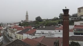 stork 4K på redet över en kolonn en regna dag av Jerez de los Caballeros arkivfilmer