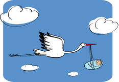 Stork with the kid Stock Images