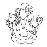 Stork lying on a cloud in black and white. Stork wearing a bandana lying over a cloud with balloons vector illustration graphic design stock illustration