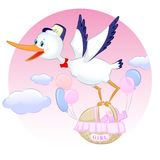 Stork med flickan Fotografering för Bildbyråer