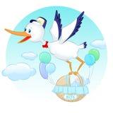 Stork med pojken Royaltyfria Bilder