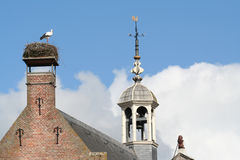 Stork on nest. Stork on a nest om the chimney of the city hall of Oudewater in The Netherlands looking at the cock on the tower Royalty Free Stock Photos