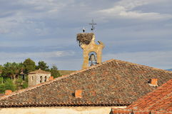 Stork nest on a bell tower. Sepulveda, Spain Royalty Free Stock Photography
