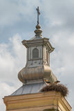 Stork Nest on Church Rooftop.  Royalty Free Stock Photography