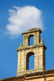 Stork Nest on a Church Tower in Salamanca royalty free stock images