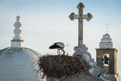 Stork nest and church towers church towers in Olhao, Portugal Stock Photography