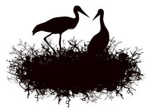 Stork Nest. Illustration of Stork Nest Silhouette Over White Background stock illustration