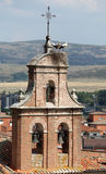 Stork nest on top of a belltower Stock Image