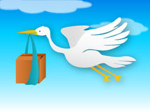 Stork with new product. Born (vector stock illustration
