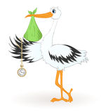 Stork with newborn baby. And golden clock Royalty Free Stock Photo