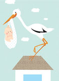 Stork and newborn baby Stock Photography