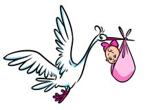 Stork newborn baby girl cartoon illustration Royalty Free Stock Image