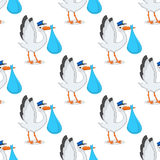 Stork with Newborn Boy Seamless Pattern Stock Photo