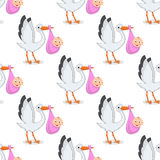 Stork with Newborn Girl Seamless Pattern Royalty Free Stock Photo