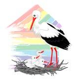 Stork och fågelungar i redet Royaltyfri Bild