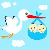 Stork och pojkar Arkivfoto