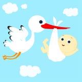 Stork och pojke Arkivbild