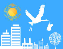 Stork over a city. The stork with the child flies over a city. A  illustration Stock Image